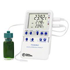 Цифров термометър Fisher Scientific Excursion-Trac с цилиндричен сензор и сонда, капсулиран в гликол, -50 до 70 ° C