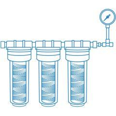 Комплект външен предфилтър Biosan с манометър, полифосфат, карбон / 1µm